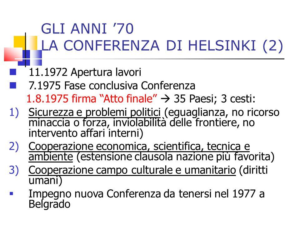 """GLI ANNI '70 LA CONFERENZA DI HELSINKI (2) 11.1972 Apertura lavori 7.1975 Fase conclusiva Conferenza 1.8.1975 firma """"Atto finale""""  35 Paesi; 3 cesti:"""