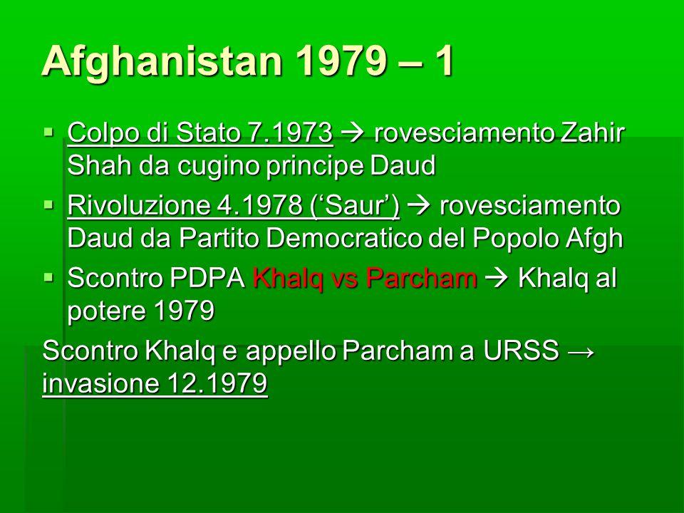 Afghanistan 1979 – 1  Colpo di Stato 7.1973  rovesciamento Zahir Shah da cugino principe Daud  Rivoluzione 4.1978 ('Saur')  rovesciamento Daud da
