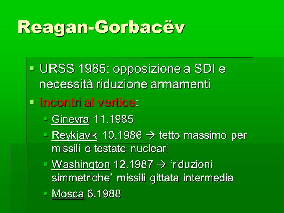 Reagan-Gorbacëv  URSS 1985: opposizione a SDI e necessità riduzione armamenti  Incontri al vertice:  Ginevra 11.1985  Reykjavik 10.1986  tetto ma