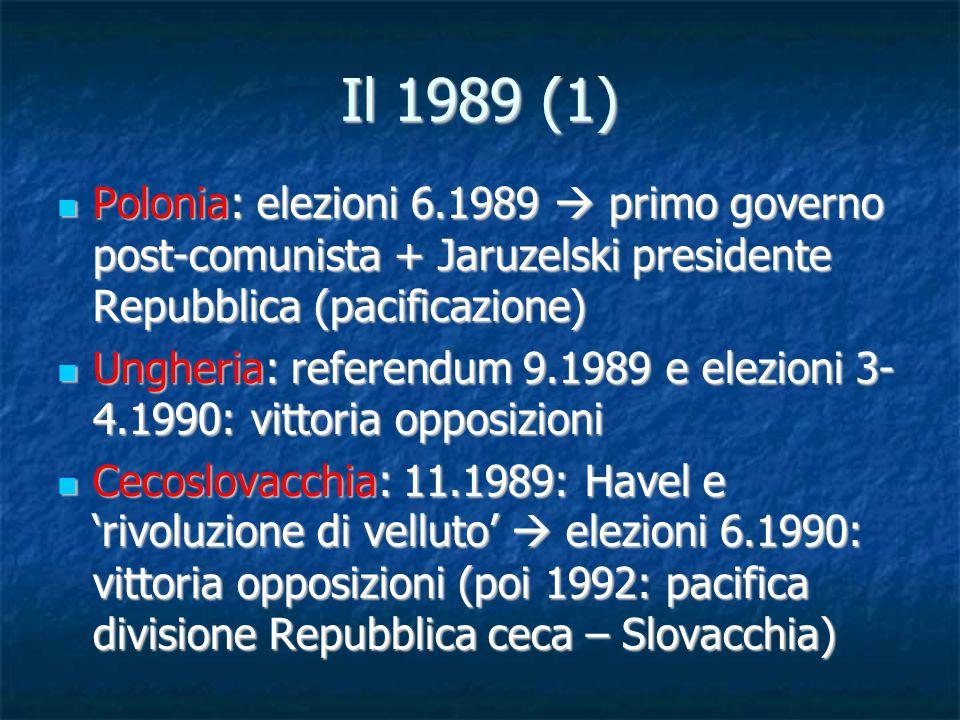 Il 1989 (1) Polonia: elezioni 6.1989  primo governo post-comunista + Jaruzelski presidente Repubblica (pacificazione) Polonia: elezioni 6.1989  prim