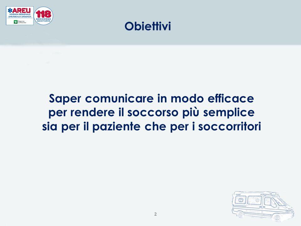 2 Obiettivi Saper comunicare in modo efficace per rendere il soccorso più semplice sia per il paziente che per i soccorritori