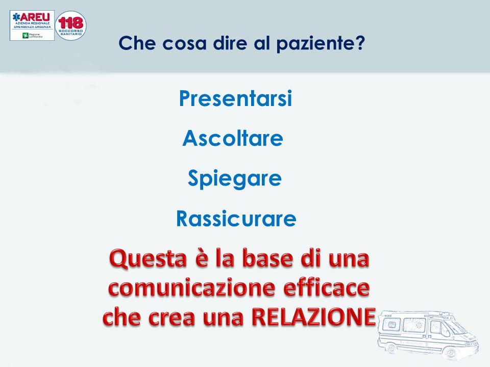 Presentarsi Ascoltare Spiegare Rassicurare Che cosa dire al paziente?