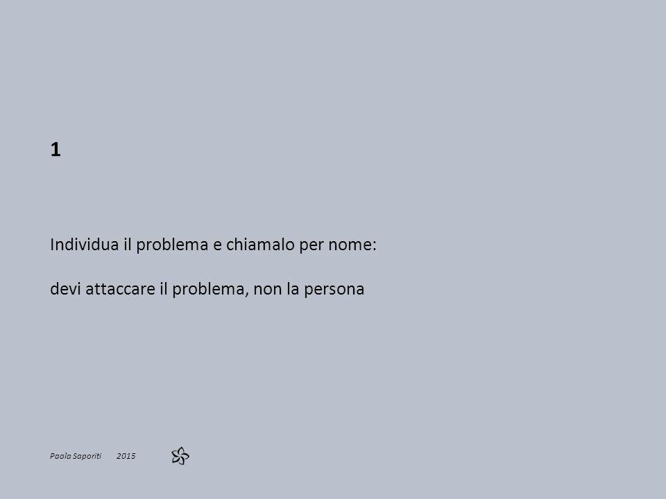 1 Individua il problema e chiamalo per nome: devi attaccare il problema, non la persona Paola Saporiti 2015