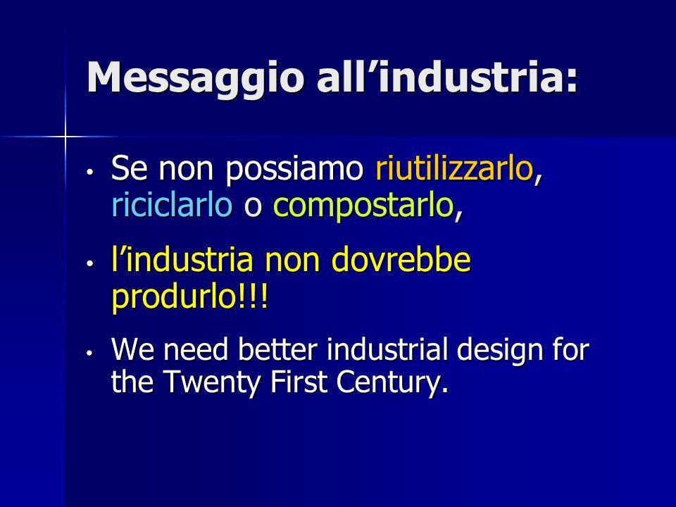 Messaggio all'industria: Se non possiamo riutilizzarlo, riciclarlo o compostarlo, Se non possiamo riutilizzarlo, riciclarlo o compostarlo, l'industria non dovrebbe produrlo!!.