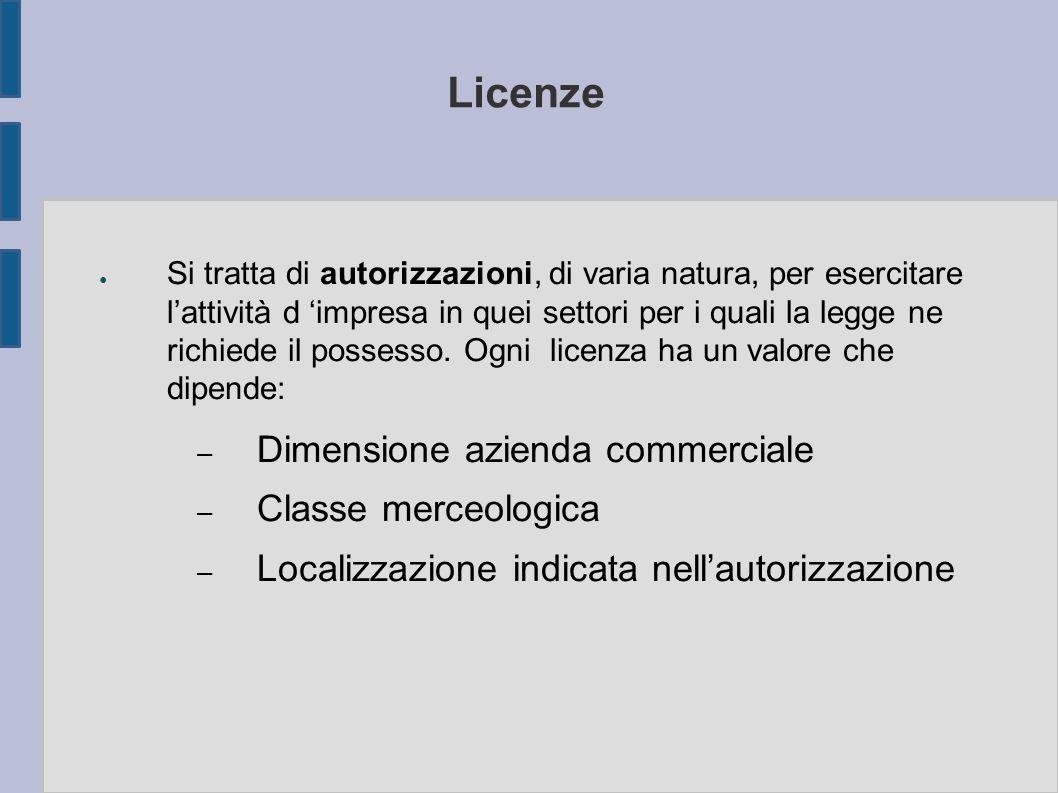 Licenze ● Si tratta di autorizzazioni, di varia natura, per esercitare l'attività d 'impresa in quei settori per i quali la legge ne richiede il posse