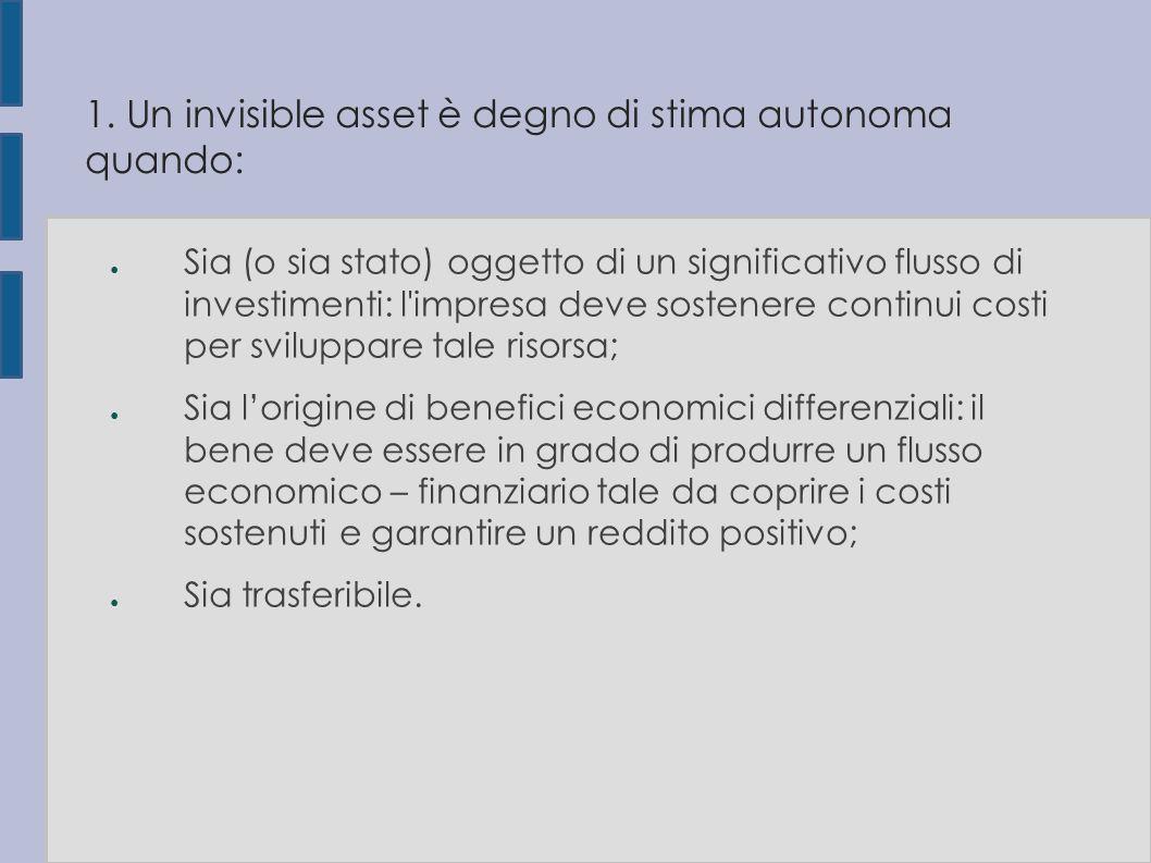 1. Un invisible asset è degno di stima autonoma quando: ● Sia (o sia stato) oggetto di un significativo flusso di investimenti: l'impresa deve sostene