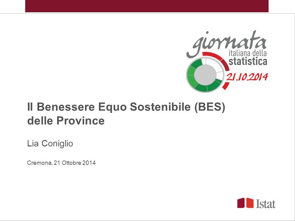 Il Benessere Equo Sostenibile (BES) delle Province Lia Coniglio Cremona, 21 Ottobre 2014