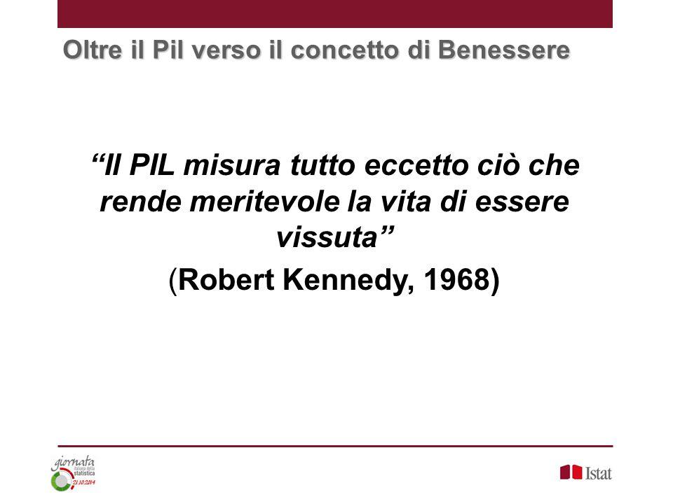 Oltre il Pil verso il concetto di Benessere Il PIL misura tutto eccetto ciò che rende meritevole la vita di essere vissuta (Robert Kennedy, 1968)