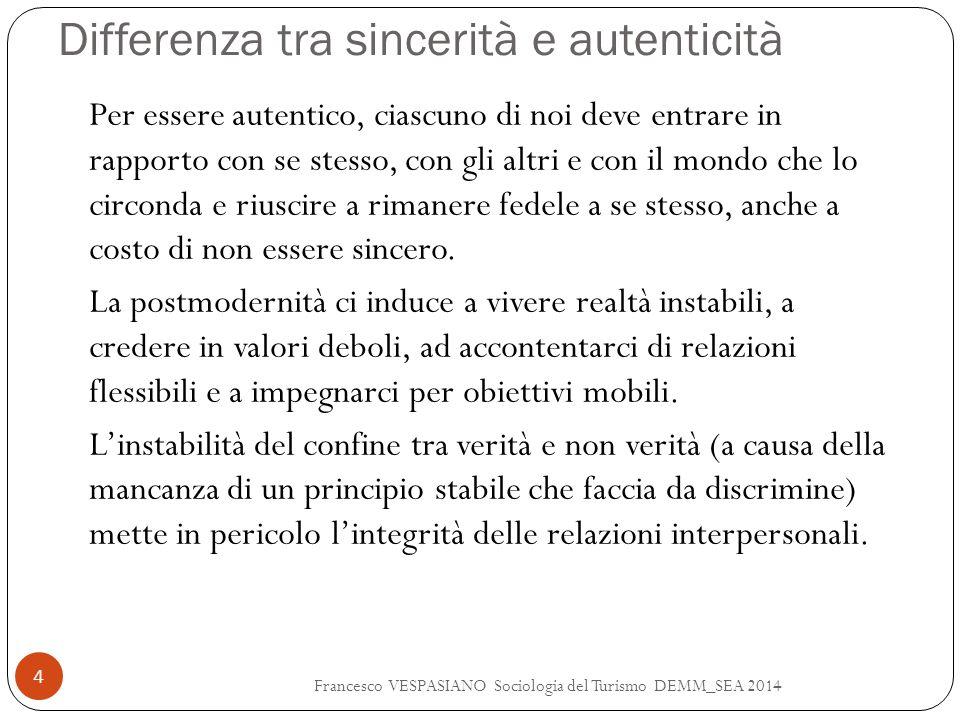 Differenza tra sincerità e autenticità Francesco VESPASIANO Sociologia del Turismo DEMM_SEA 2014 4 Per essere autentico, ciascuno di noi deve entrare
