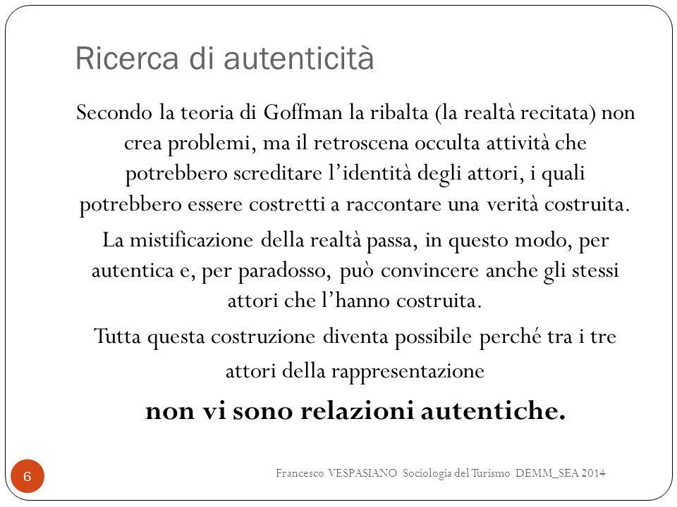 Ricerca di autenticità Secondo la teoria di Goffman la ribalta (la realtà recitata) non crea problemi, ma il retroscena occulta attività che potrebber