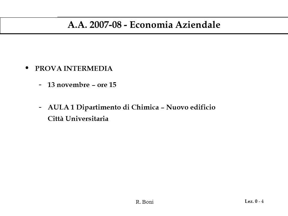 R. Boni Lez. 0 - 4 A.A. 2007-08 - Economia Aziendale PROVA INTERMEDIA - 13 novembre – ore 15 - AULA 1 Dipartimento di Chimica – Nuovo edificio Città U