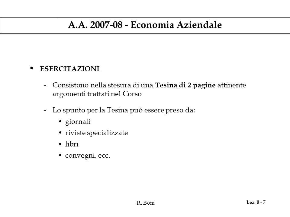 R. Boni Lez. 0 - 7 A.A. 2007-08 - Economia Aziendale ESERCITAZIONI - Consistono nella stesura di una Tesina di 2 pagine attinente argomenti trattati n