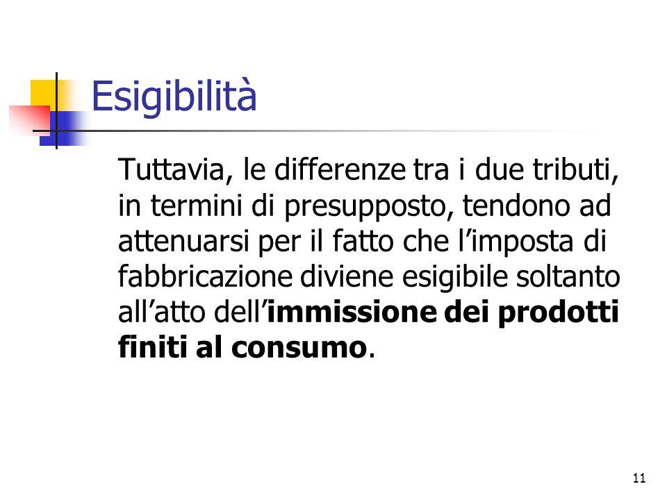 11 Esigibilità Tuttavia, le differenze tra i due tributi, in termini di presupposto, tendono ad attenuarsi per il fatto che l'imposta di fabbricazione