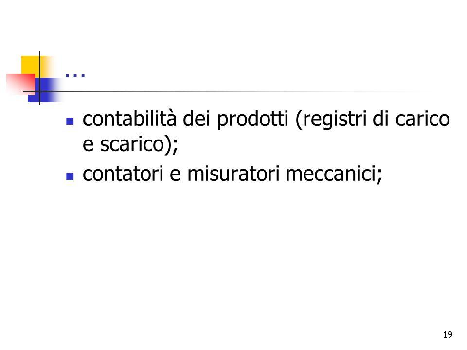 19 … contabilità dei prodotti (registri di carico e scarico); contatori e misuratori meccanici;