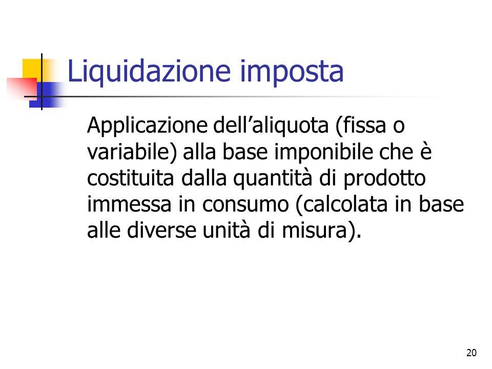 20 Liquidazione imposta Applicazione dell'aliquota (fissa o variabile) alla base imponibile che è costituita dalla quantità di prodotto immessa in con