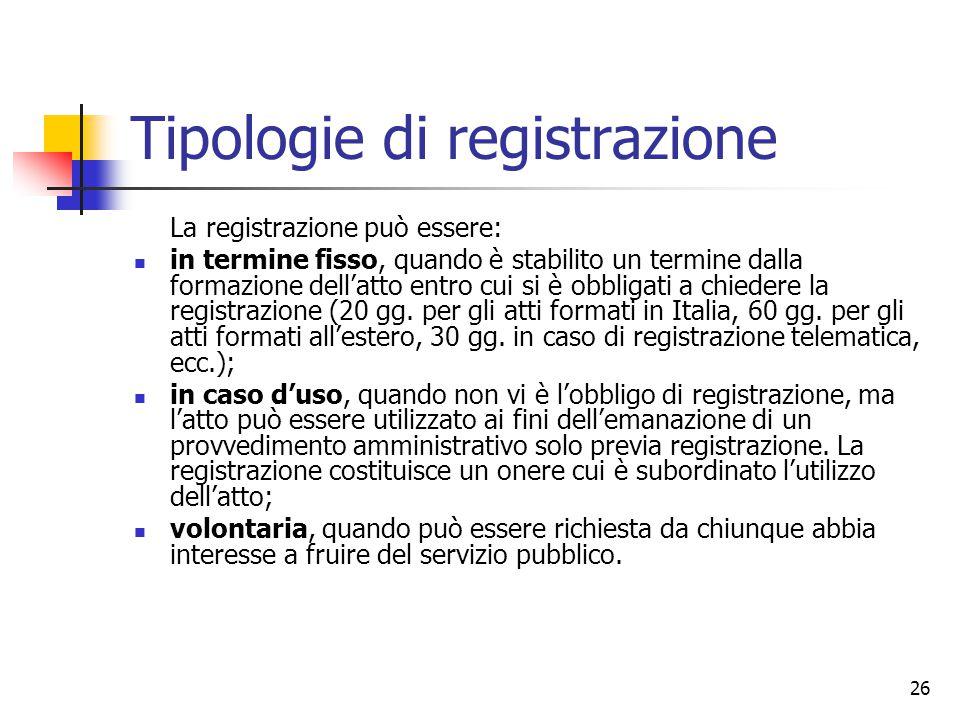 26 Tipologie di registrazione La registrazione può essere: in termine fisso, quando è stabilito un termine dalla formazione dell'atto entro cui si è o