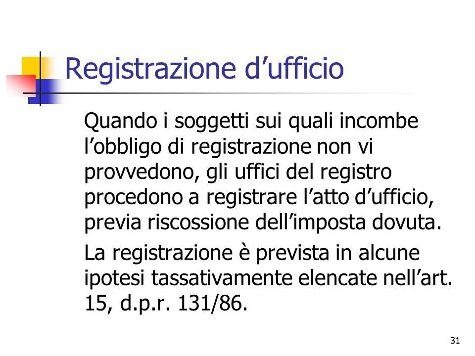 31 Registrazione d'ufficio Quando i soggetti sui quali incombe l'obbligo di registrazione non vi provvedono, gli uffici del registro procedono a regis