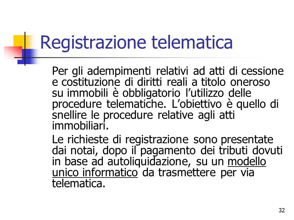 32 Registrazione telematica Per gli adempimenti relativi ad atti di cessione e costituzione di diritti reali a titolo oneroso su immobili è obbligator