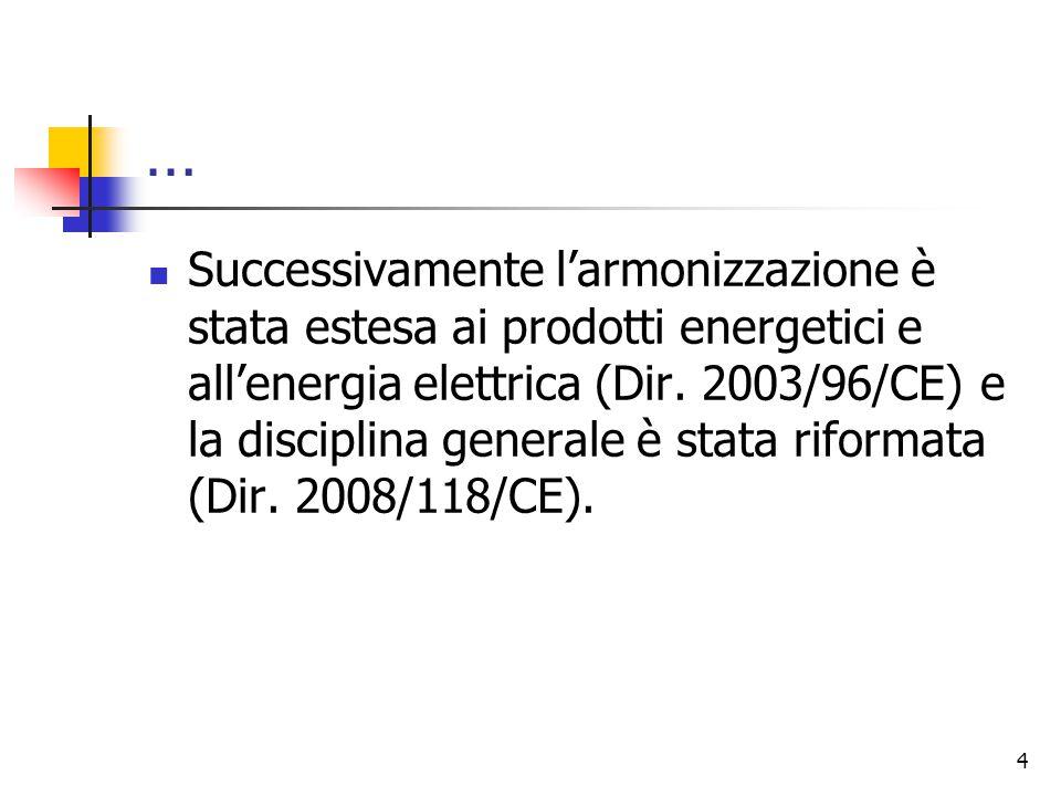 … Successivamente l'armonizzazione è stata estesa ai prodotti energetici e all'energia elettrica (Dir. 2003/96/CE) e la disciplina generale è stata ri