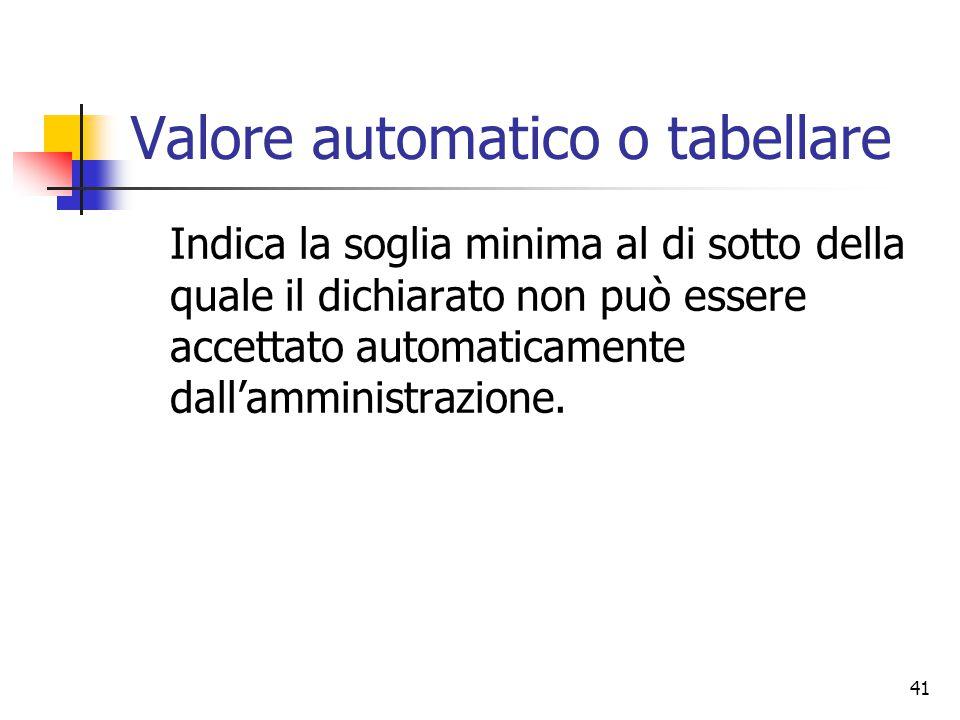 41 Valore automatico o tabellare Indica la soglia minima al di sotto della quale il dichiarato non può essere accettato automaticamente dall'amministr