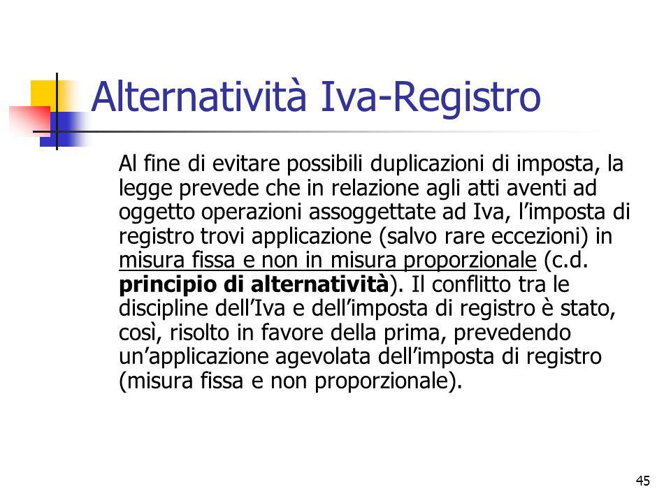 45 Alternatività Iva-Registro Al fine di evitare possibili duplicazioni di imposta, la legge prevede che in relazione agli atti aventi ad oggetto oper