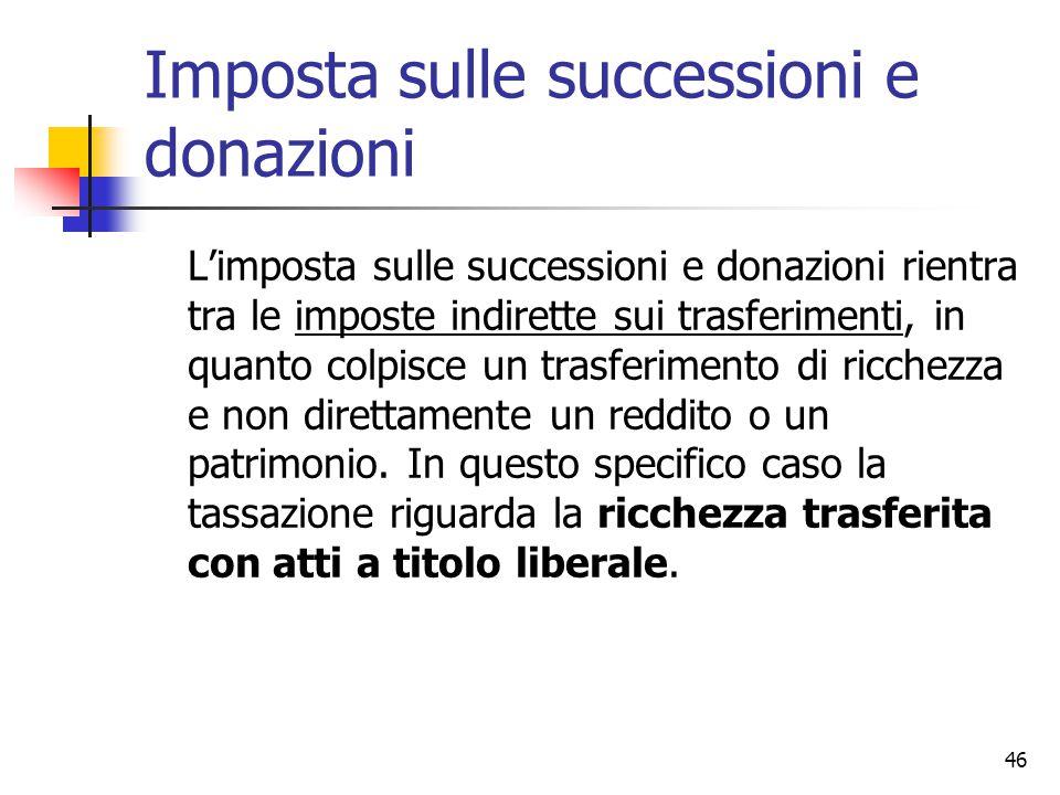 46 Imposta sulle successioni e donazioni L'imposta sulle successioni e donazioni rientra tra le imposte indirette sui trasferimenti, in quanto colpisc