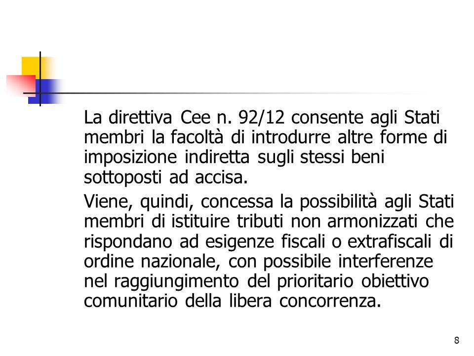 8 La direttiva Cee n. 92/12 consente agli Stati membri la facoltà di introdurre altre forme di imposizione indiretta sugli stessi beni sottoposti ad a