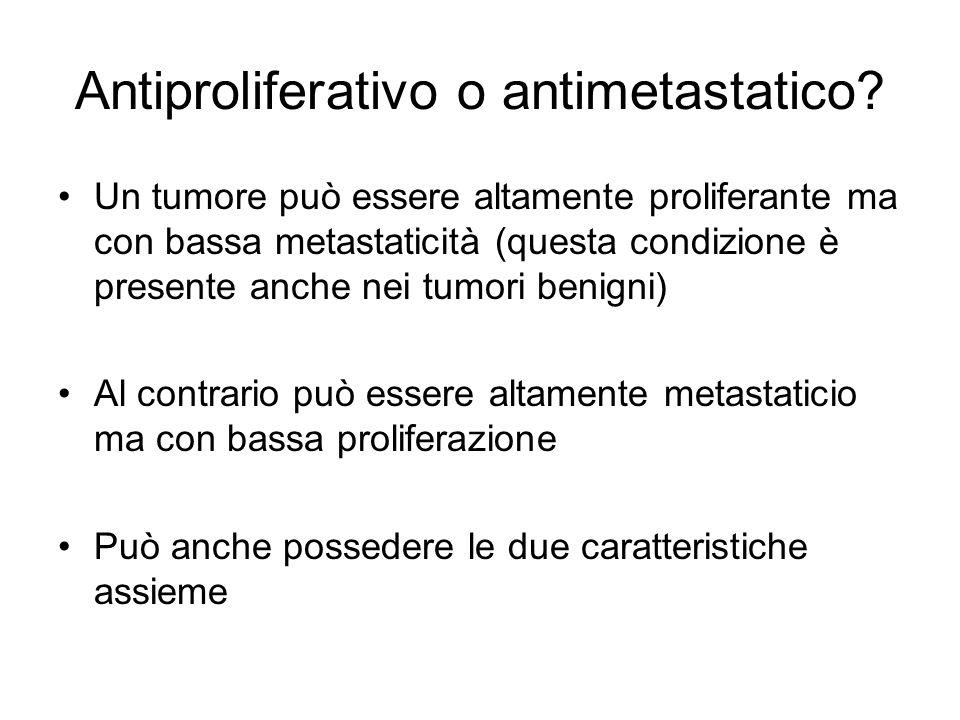 Antiproliferativo o antimetastatico? Un tumore può essere altamente proliferante ma con bassa metastaticità (questa condizione è presente anche nei tu