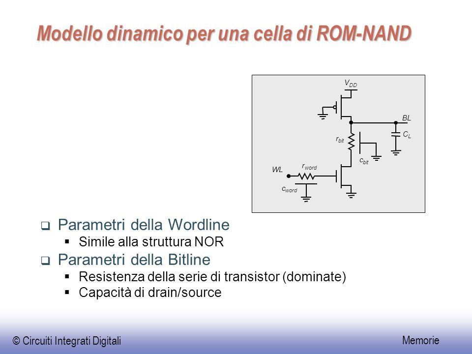 © Circuiti Integrati Digitali Memorie Modello dinamico per una cella di ROM-NAND  Parametri della Wordline  Simile alla struttura NOR  Parametri della Bitline  Resistenza della serie di transistor (dominate)  Capacità di drain/source V DD C L r word c c bit r WL BL