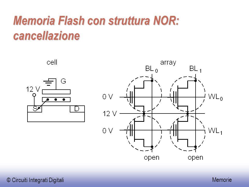 © Circuiti Integrati Digitali Memorie Memoria Flash con struttura NOR: cancellazione