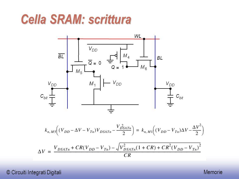 © Circuiti Integrati Digitali Memorie Cella SRAM: scrittura WL BL V DD M 5 M 6 M 4 M 1 V V V BL Q = 1 Q = 0 C bit C