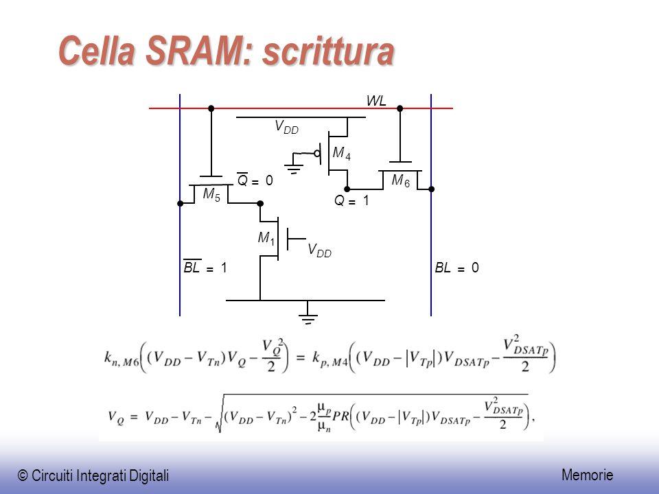 © Circuiti Integrati Digitali Memorie Cella SRAM: scrittura BL = 1 = 0 Q = 0 Q = 1 M 1 M 4 M 5 M 6 V DD V WL