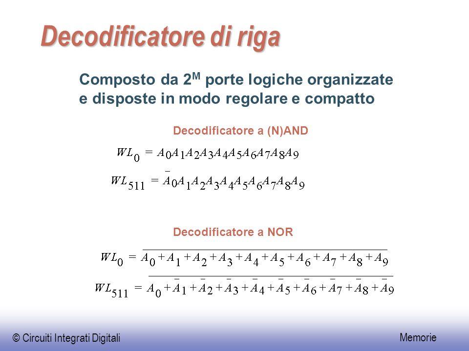 © Circuiti Integrati Digitali Memorie Decodificatore di riga Composto da 2 M porte logiche organizzate e disposte in modo regolare e compatto Decodificatore a (N)AND Decodificatore a NOR