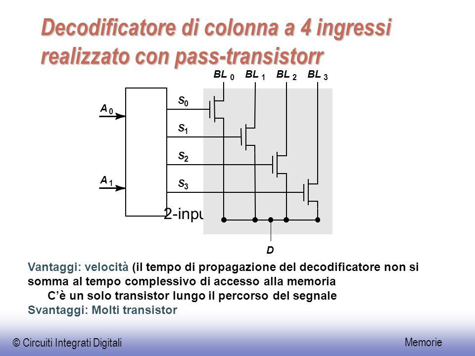 © Circuiti Integrati Digitali Memorie Decodificatore di colonna a 4 ingressi realizzato con pass-transistorr Vantaggi: velocità (il tempo di propagazione del decodificatore non si somma al tempo complessivo di accesso alla memoria C'è un solo transistor lungo il percorso del segnale Svantaggi: Molti transistor 2-input NOR decoder A 0 S 0 BL 0 1 2 3 A 1 S 1 S 2 S 3 D
