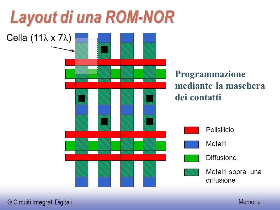 © Circuiti Integrati Digitali Memorie Layout di una ROM-NOR Cella (11 x 7 ) Programmazione mediante la maschera dei contatti Polisilicio Metal1 Diffus