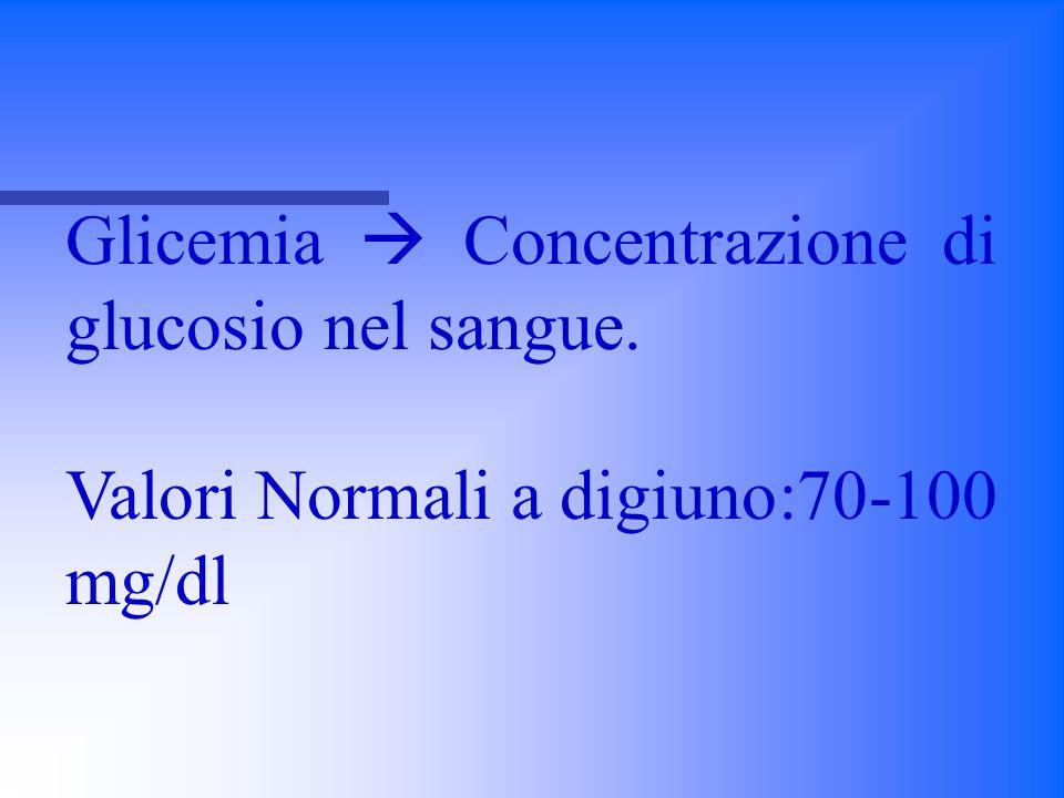 Glicemia  Concentrazione di glucosio nel sangue. Valori Normali a digiuno:70-100 mg/dl