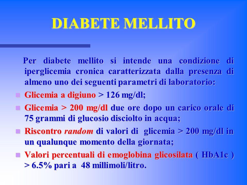 DIABETE MELLITO Per diabete mellito si intende una condizione di iperglicemia cronica caratterizzata dalla presenza di almeno uno dei seguenti paramet