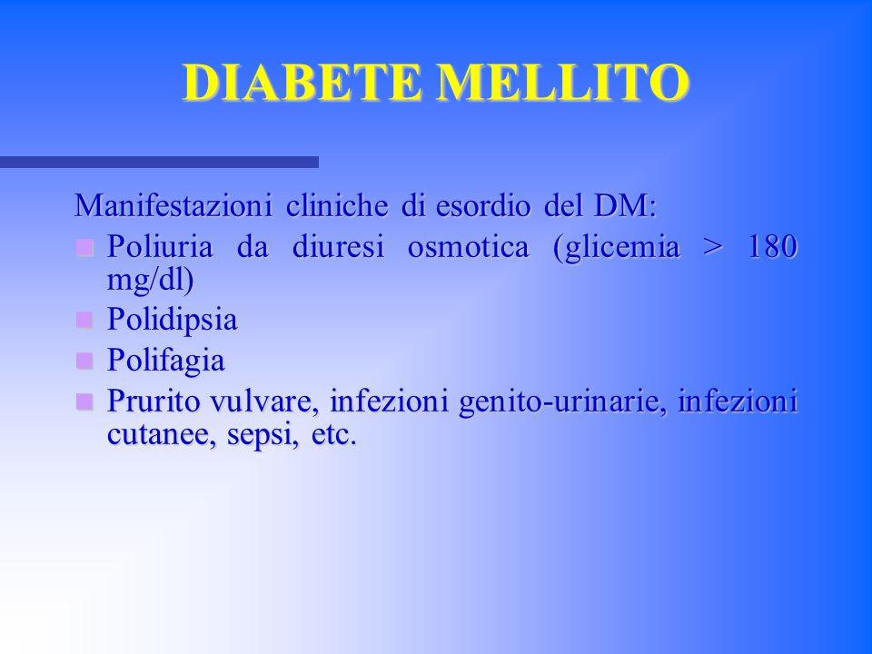 Manifestazioni cliniche di esordio del DM: Poliuria da diuresi osmotica (glicemia > 180 mg/dl) Poliuria da diuresi osmotica (glicemia > 180 mg/dl) Pol
