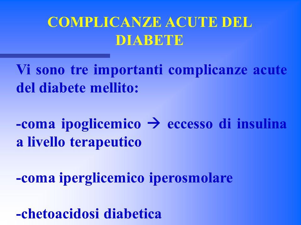 COMPLICANZE ACUTE DEL DIABETE Vi sono tre importanti complicanze acute del diabete mellito: -coma ipoglicemico  eccesso di insulina a livello terapeu