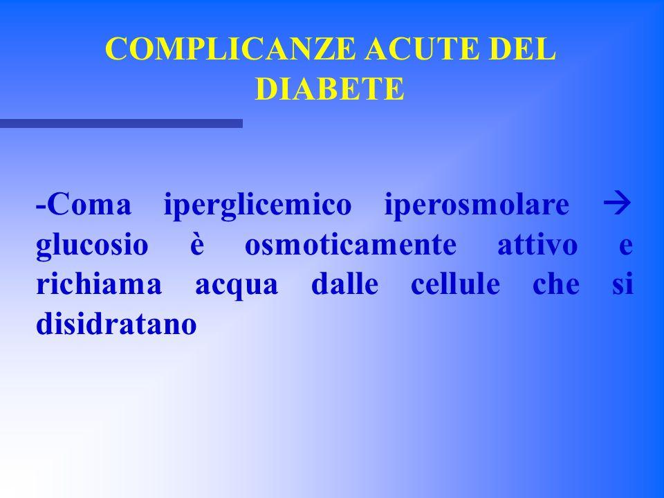 Comi Iperglicemici Cause -Eventi precipitanti -Inadeguata somministrazione di insulina o di ipoglicemizzanti orali -Infezioni (Polmonite, infezione urinaria gastroenterite, sepsi) -Infarti con necrosi tessutale -Farmaci (cocaina)