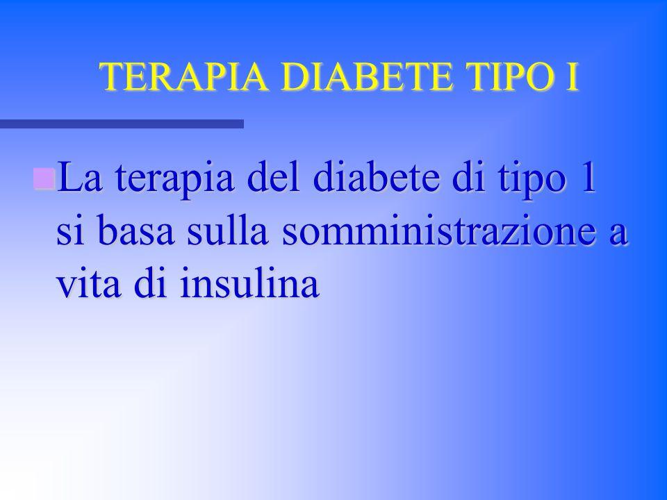 TERAPIA DIABETE TIPO I La terapia del diabete di tipo 1 si basa sulla somministrazione a vita di insulina La terapia del diabete di tipo 1 si basa sul