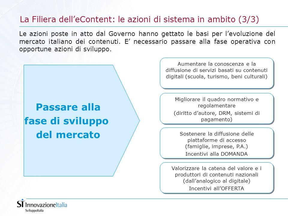 La Filiera dell'eContent: le azioni di sistema in ambito (3/3) Aumentare la conoscenza e la diffusione di servizi basati su contenuti digitali (scuola