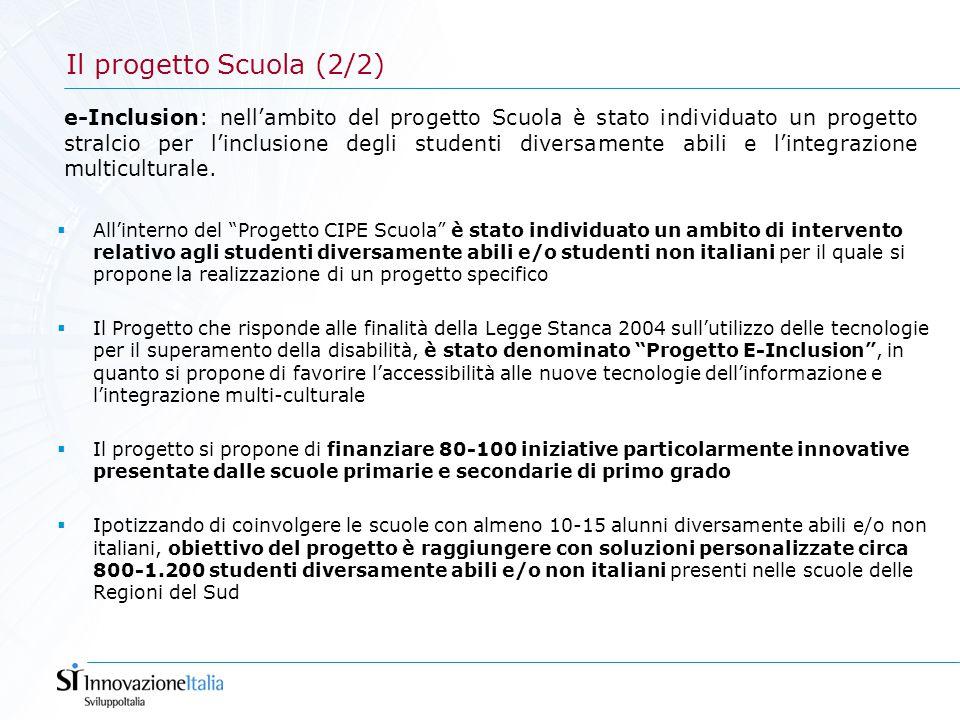 Il progetto Scuola (2/2) e-Inclusion: nell'ambito del progetto Scuola è stato individuato un progetto stralcio per l'inclusione degli studenti diversa
