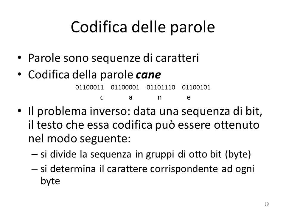 Codifica delle parole Parole sono sequenze di caratteri Codifica della parole cane 01100011 01100001 01101110 01100101 c a n e Il problema inverso: da