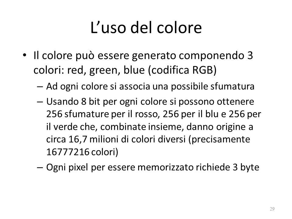L'uso del colore Il colore può essere generato componendo 3 colori: red, green, blue (codifica RGB) – Ad ogni colore si associa una possibile sfumatura – Usando 8 bit per ogni colore si possono ottenere 256 sfumature per il rosso, 256 per il blu e 256 per il verde che, combinate insieme, danno origine a circa 16,7 milioni di colori diversi (precisamente 16777216 colori) – Ogni pixel per essere memorizzato richiede 3 byte 29