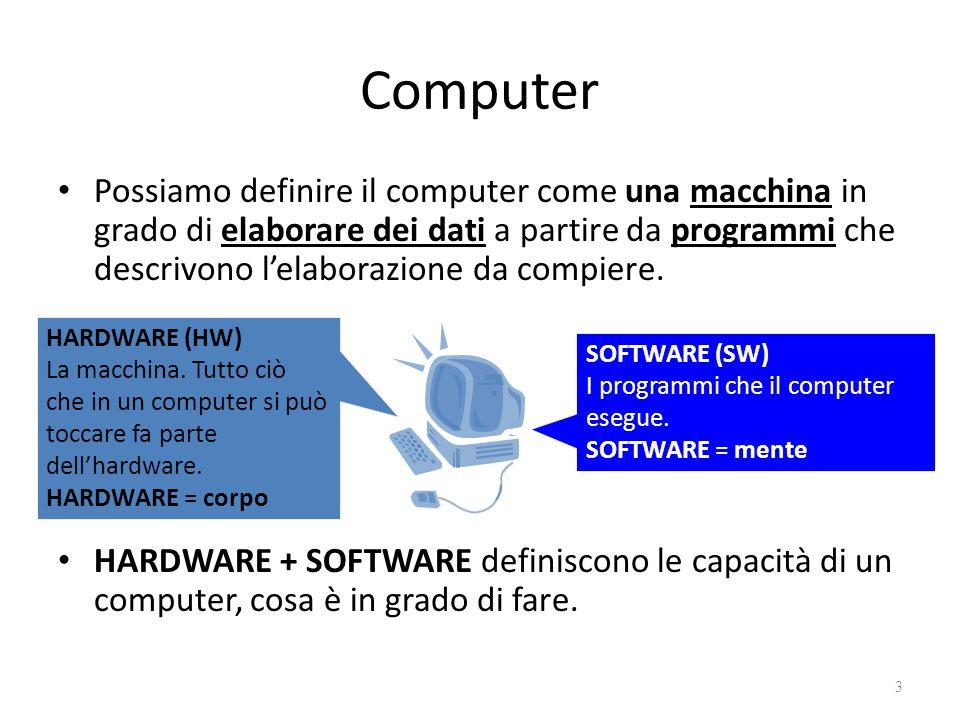 Computer Possiamo definire il computer come una macchina in grado di elaborare dei dati a partire da programmi che descrivono l'elaborazione da compie