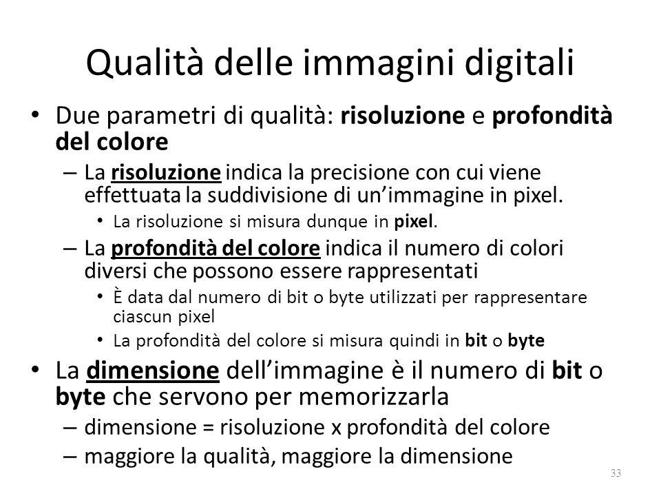 Qualità delle immagini digitali Due parametri di qualità: risoluzione e profondità del colore – La risoluzione indica la precisione con cui viene effettuata la suddivisione di un'immagine in pixel.