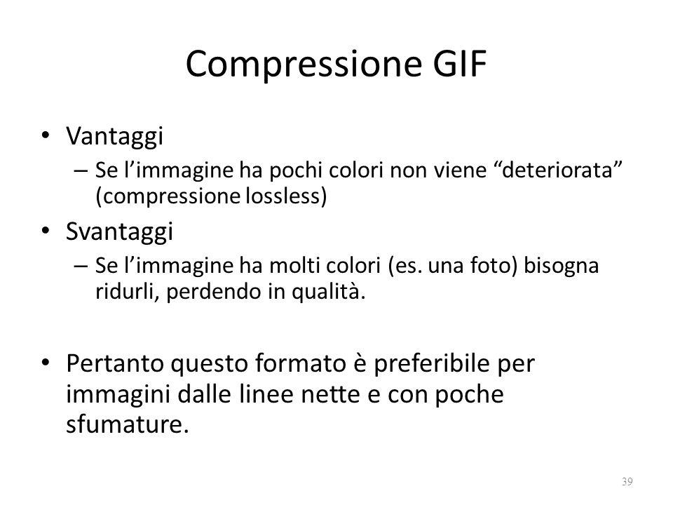 Compressione GIF Vantaggi – Se l'immagine ha pochi colori non viene deteriorata (compressione lossless) Svantaggi – Se l'immagine ha molti colori (es.