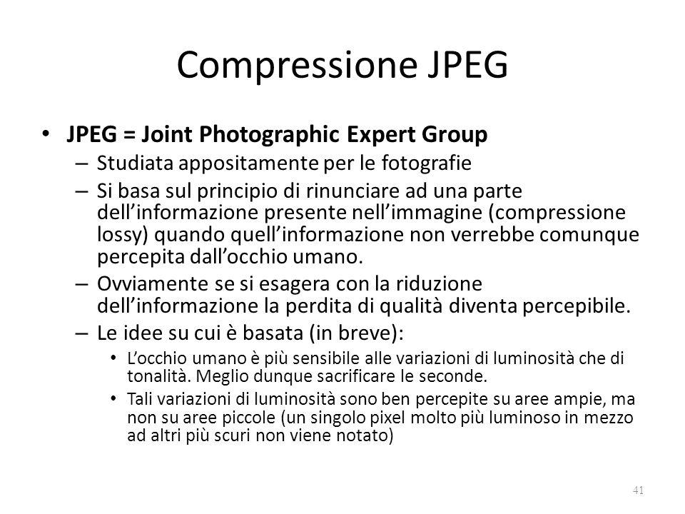 Compressione JPEG JPEG = Joint Photographic Expert Group – Studiata appositamente per le fotografie – Si basa sul principio di rinunciare ad una parte dell'informazione presente nell'immagine (compressione lossy) quando quell'informazione non verrebbe comunque percepita dall'occhio umano.