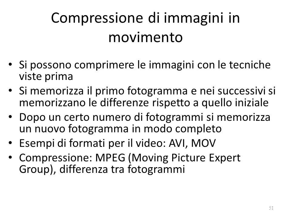 Compressione di immagini in movimento Si possono comprimere le immagini con le tecniche viste prima Si memorizza il primo fotogramma e nei successivi si memorizzano le differenze rispetto a quello iniziale Dopo un certo numero di fotogrammi si memorizza un nuovo fotogramma in modo completo Esempi di formati per il video: AVI, MOV Compressione: MPEG (Moving Picture Expert Group), differenza tra fotogrammi 51